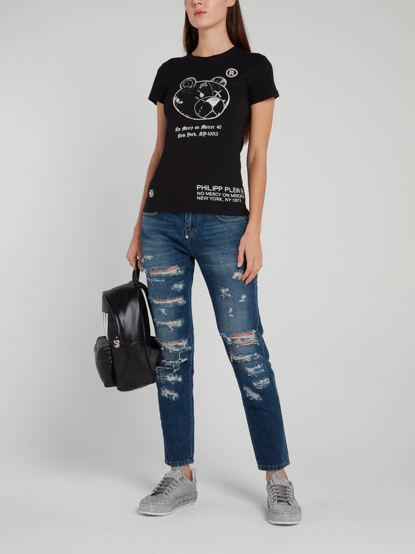 Blue Distressed Slim Fit Boyfriend Jeans