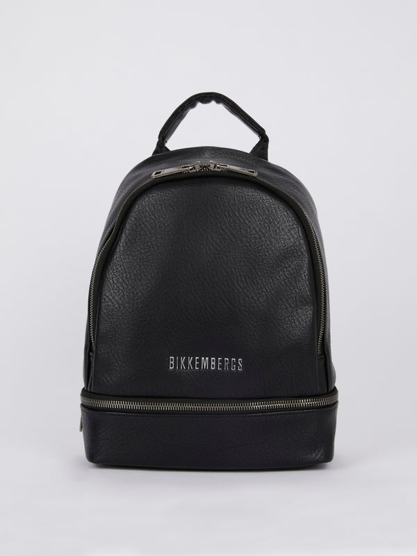 Black Zipper Embellished Mini Backpack