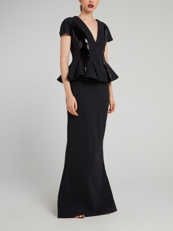 Feliciana Sequin Panel Surplice Maxi Dress
