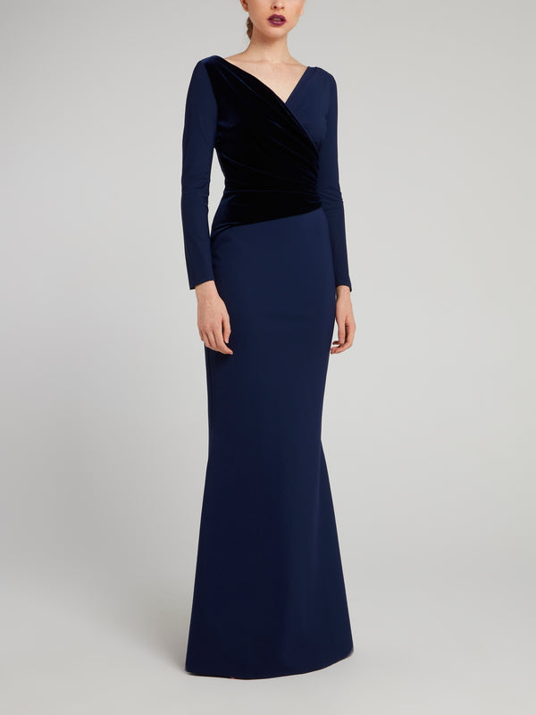 Hilaria Two Tone Velvet Wrap Maxi Dress
