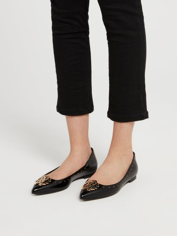 Black Monogram Patent Leather Ballerina Flats