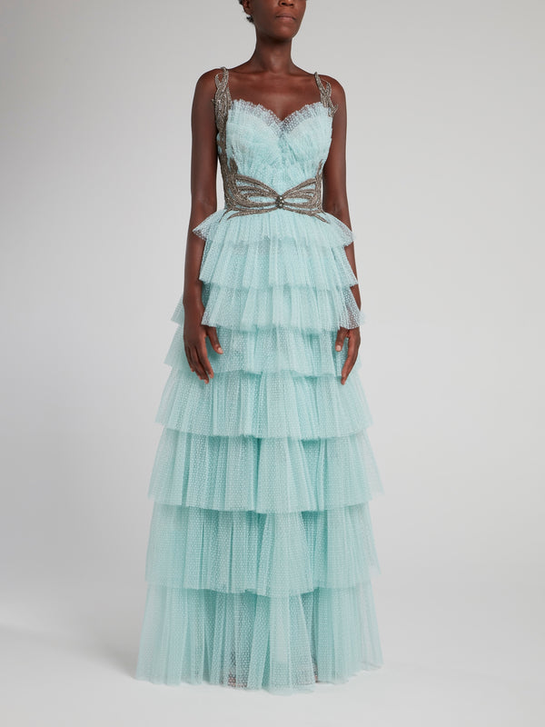 Mint Tiered Tulle Maxi Dress