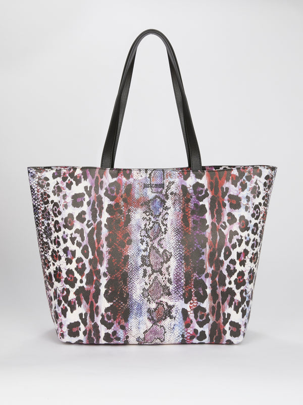 Animal Print Leather Tote Bag