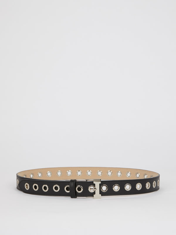 Black Ring Embellished Leather Belt