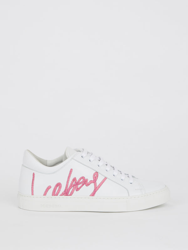 White Logo Embroidered Lace Up Sneakers