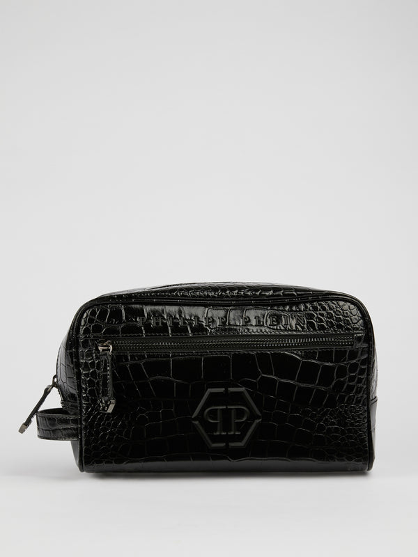 Maverik Black Leather Pouch Bag