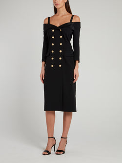 Black Double Breasted Midi Dress