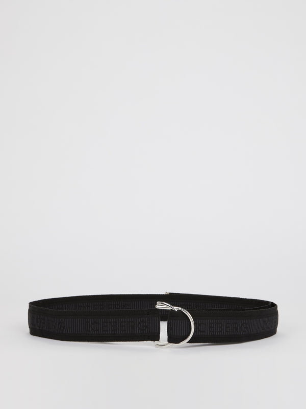 Black Logo Strap Belt