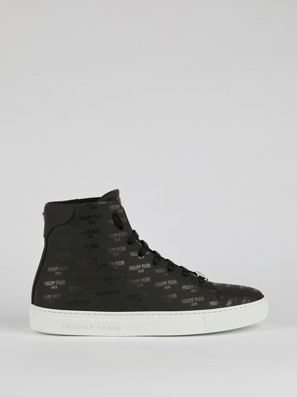 Yaeger Black Monogram Print Sneakers