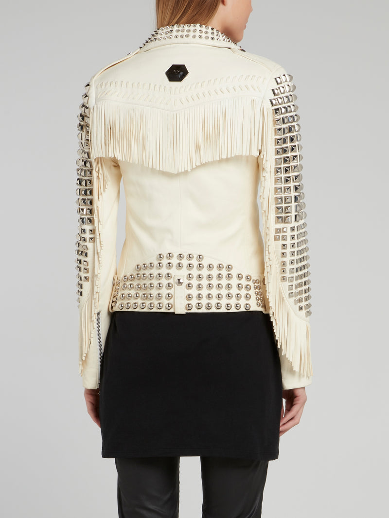 Multi-Stud Fringed Biker Jacket