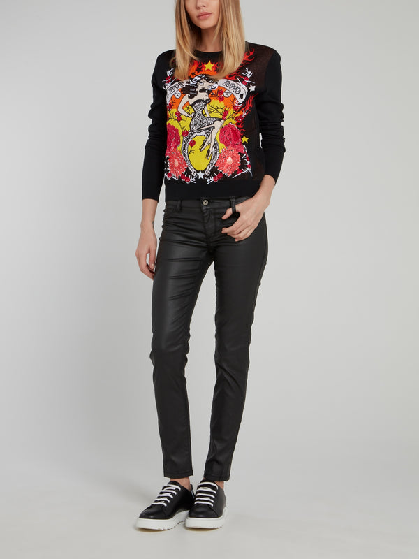Graphic Embroidered Knitted Sweater