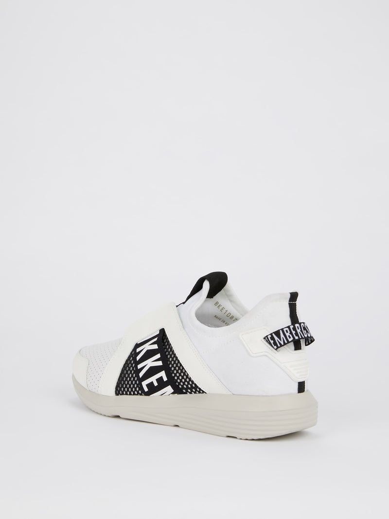 White Elastic Strap Low Top Sneakers