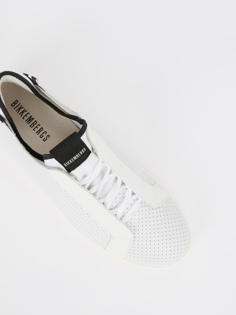 White Perforated Lace Up Sneakers