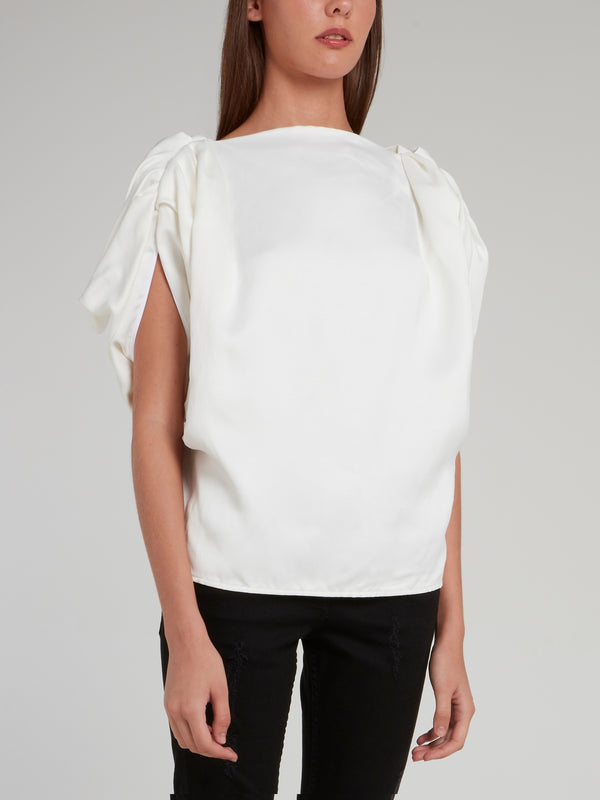 White Bateau Neckline Assured Blouse