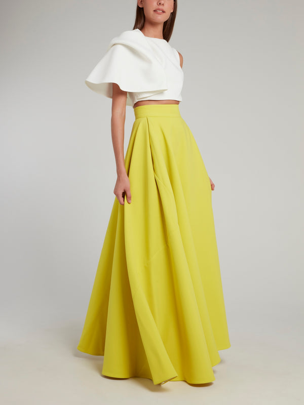 Yellow Flared Attended Evening Skirt