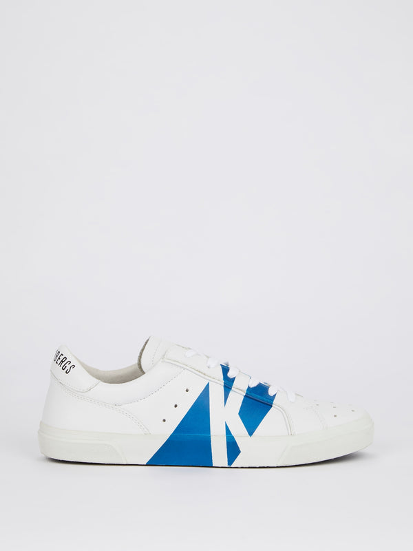 White with Blue Stripe Perforated Sneakers
