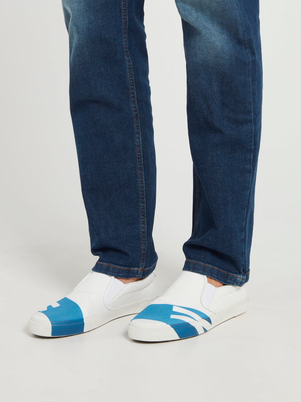 White with Blue Stripe Slip On Sneakers