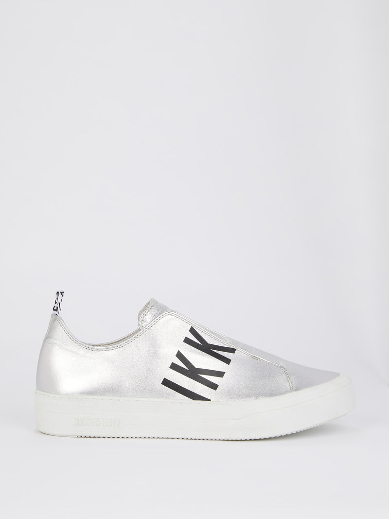 Silver Logo Slip On Sneakers