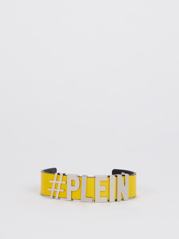 Yellow Leather Logo Bracelet