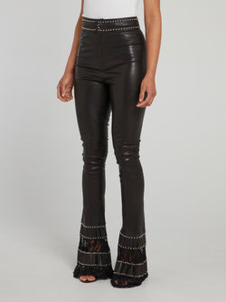 Black Embellished Lace Panel Flared Leather Trousers