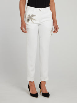Aloha Plein Embellished Tapered Cropped Trousers