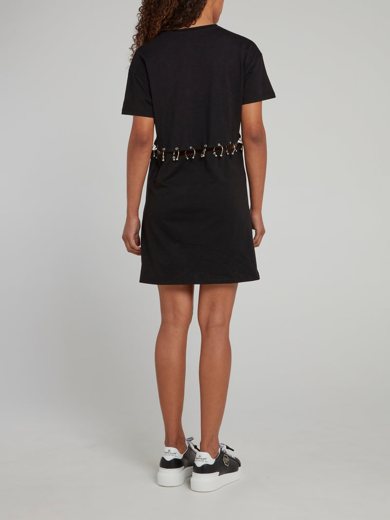 Black Ring Waist Embellished Graphic T-Shirt Dress
