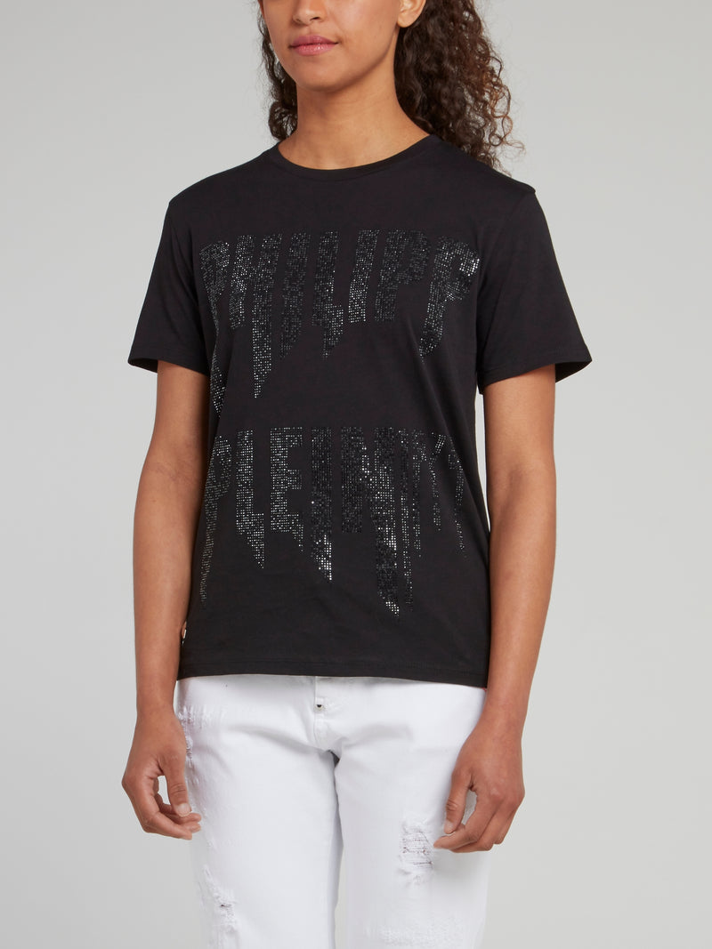 Black Studded Logo Cotton T-Shirt