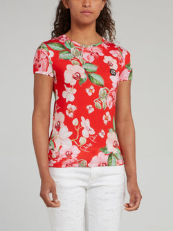 Back Studded Floral Print Fitted Shirt