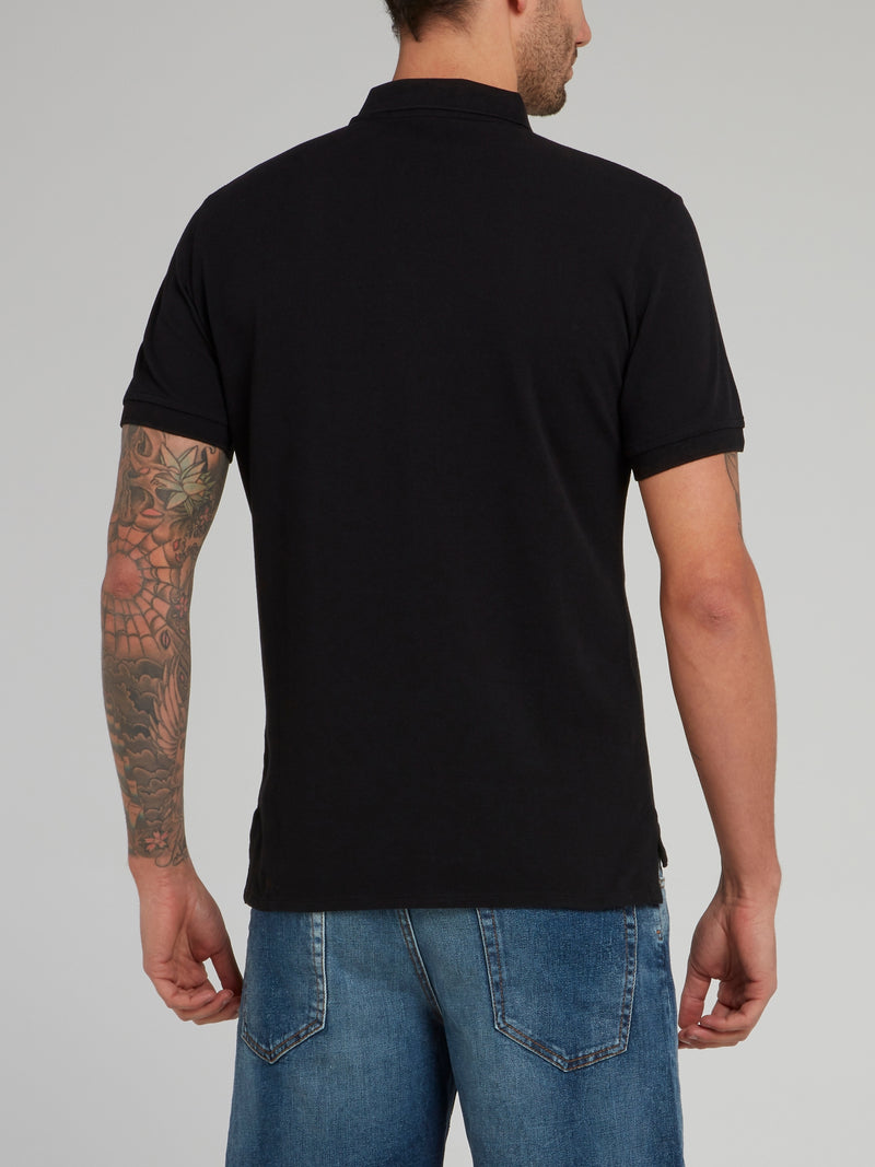Black Leopard Logo Cotton Polo Shirt