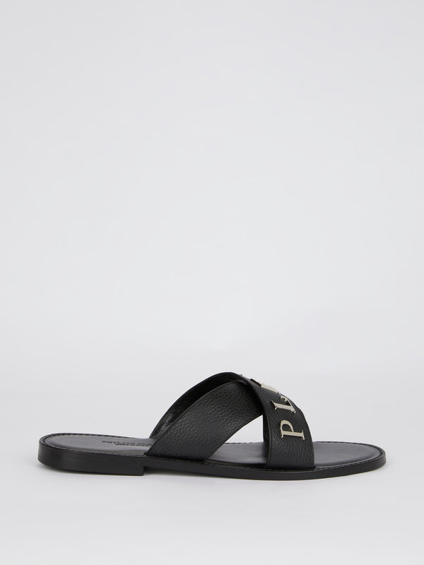 Black Crisscross Logo Leather Slippers
