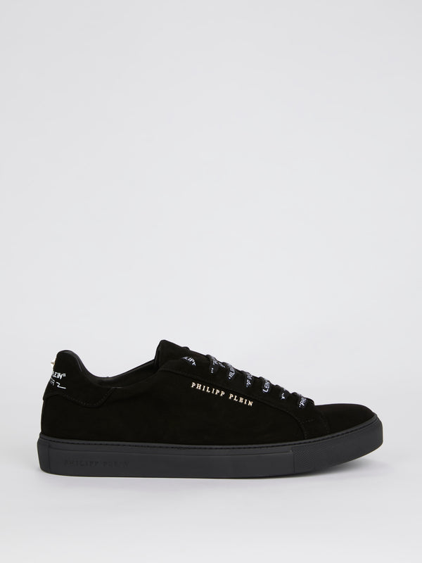 All Black Logo Lace Up Sneakers