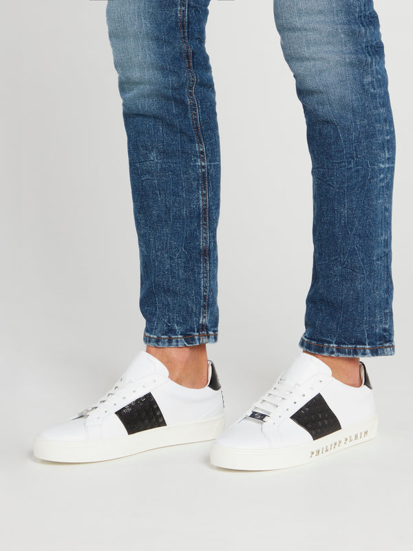 White with Black Heel Patch Leather Sneakers