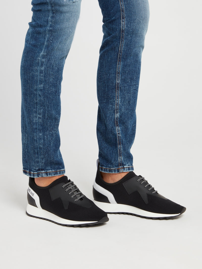 Black Mesh Lace Up Sneakers