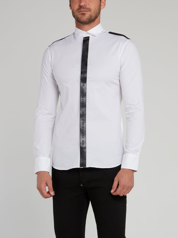 White Vertical Logo Stripe Long Sleeve Shirt
