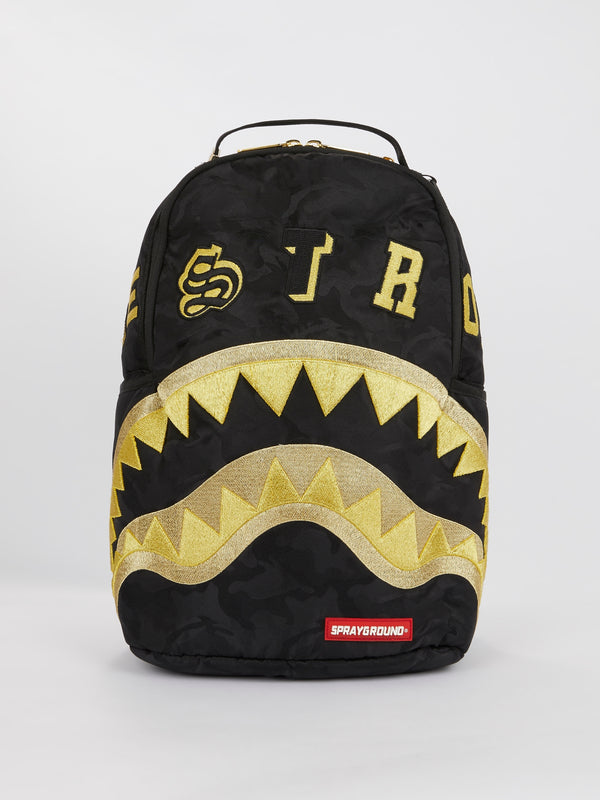 Black Gold Camo Destroy Shark Backpack