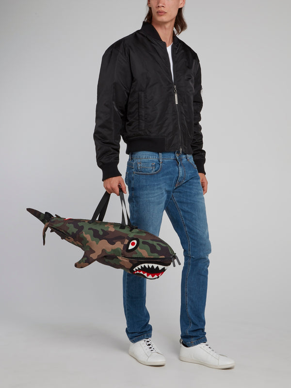 Camo Shark Shaped Duffle Bag
