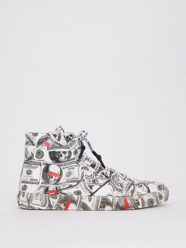 Dollar Skull High Top Leather Sneakers