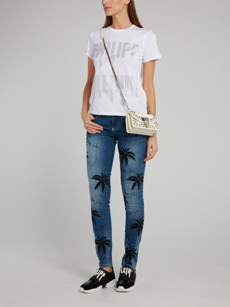 Aloha Plein Embellished Slim Fit Denim Jeans