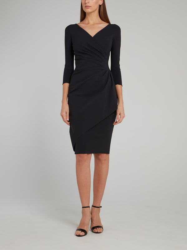 Charisse Black Draped Midi Dress
