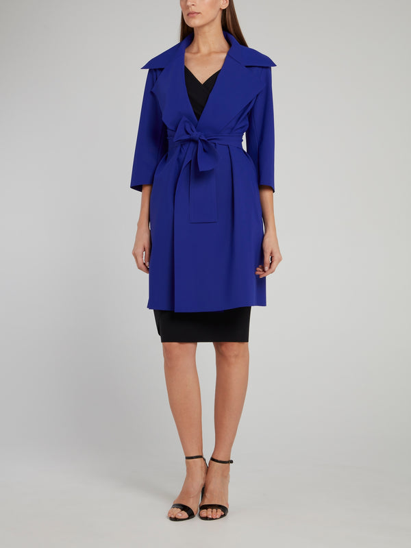 Saveria Navy Bow Trench Coat