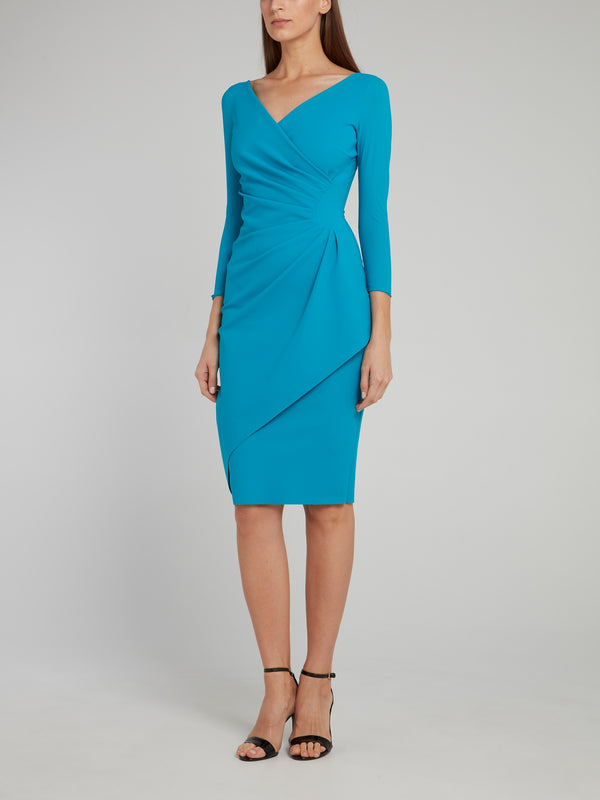 Charisse Blue Draped Midi Dress