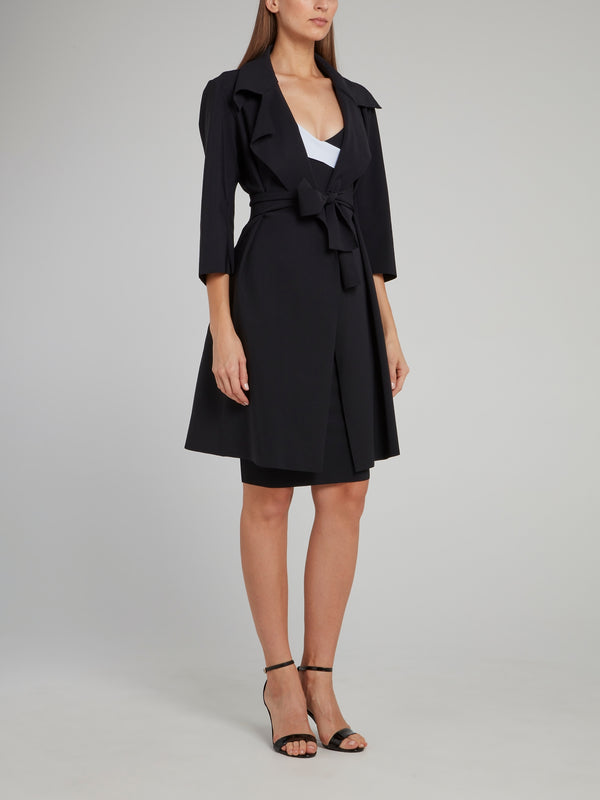 Saveria Black Bow Trench Coat