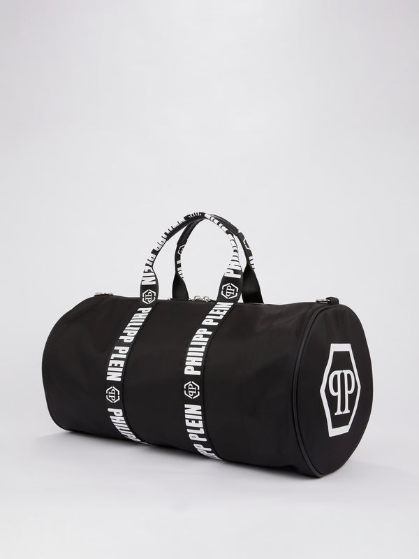 Black Logo Strap Duffle Bag