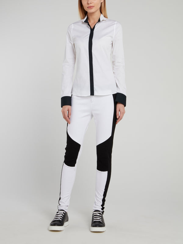 White with Black Panel Long Sleeve Shirt