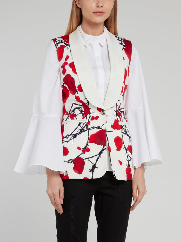 White Rose Print Rear Zip Gilet
