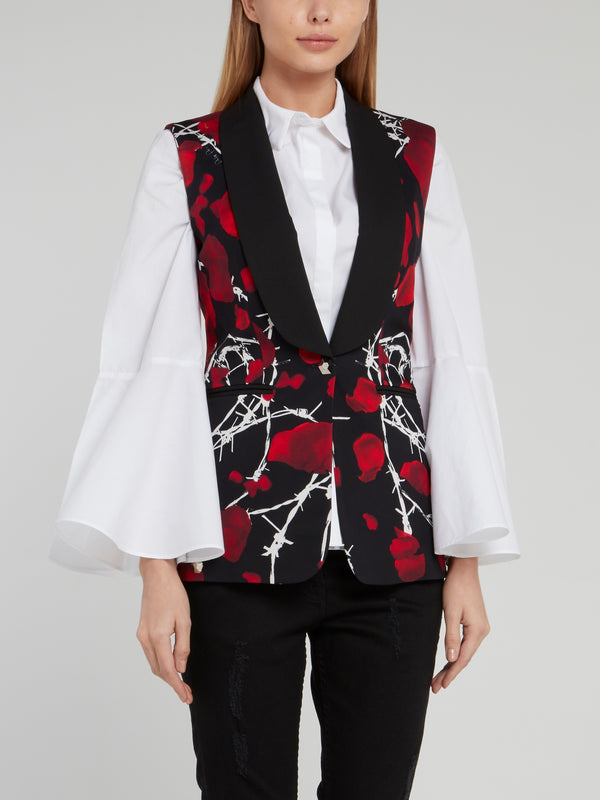 Black Rose Print Rear Zip Gilet