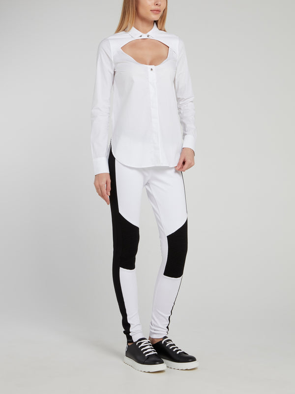 White Long Sleeve Keyhole Top