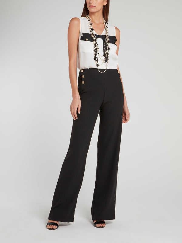 Black Button Embellished Boot-Cut Pants