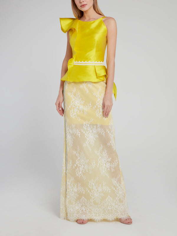 Yellow Floral Detailed Lace Maxi Skirt