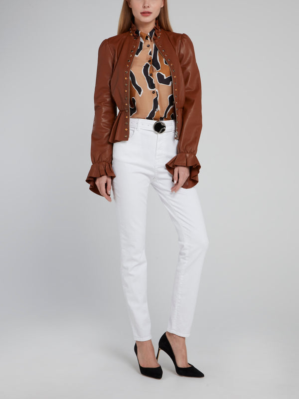 Beige Leopard Effect Viscose Shirt